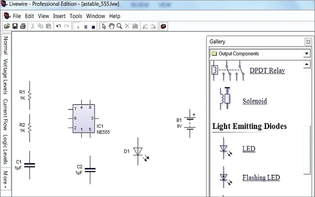 Placing components in livewire schematic window