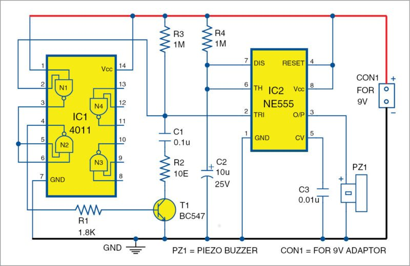 Fig. 2: Circuit diagram of the automatic power-resumption alarm