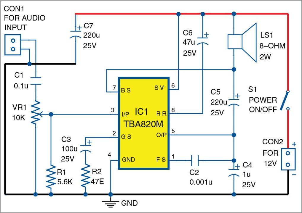 Circuit diagram of the two-watt TBA820M AF amplifier