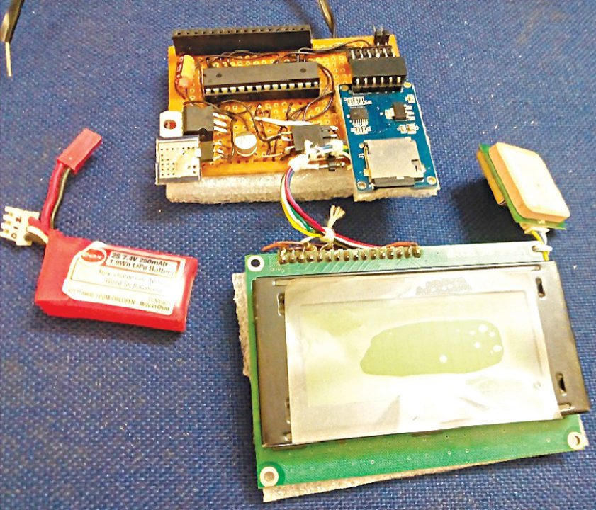 Author's prototype for GPS Distance Meter