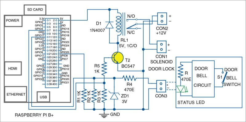 Circuit diagram of the smart receptionist with a smartlock system