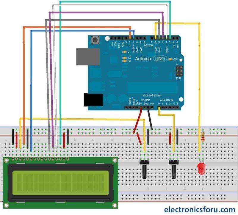 LCD displaying LED brightness