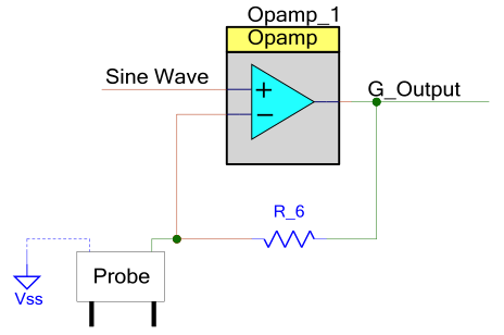 Figure 6: Non Inverting Amplifier (Conductance to Voltage Conversion) using PSoC