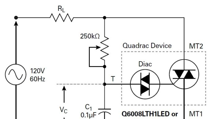 quadrac-based lighting dimmer circuit