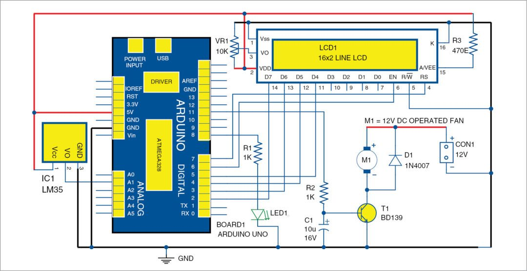 Fig. 1: Circuit diagram of the temperature-based fan speed control and monitoring using Arduino