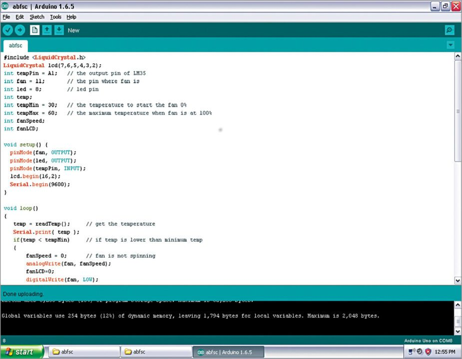 Screenshot of the source code on Arduino IDE