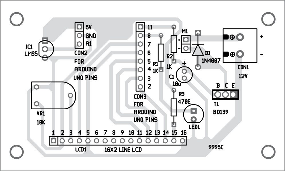 Component layout of the temperature-based fan speed control and monitoring circuit using Arduino PCB