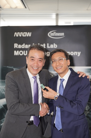 David Poon (right), MD, Infineon Technologies Hong Kong Limited and Esmond Wong, VP, Supplier Marketing - Semiconductor for Arrow Asia-Pacific to announce setting up a joint lab to accelerate technical know-how for deploying radar sensing technology.
