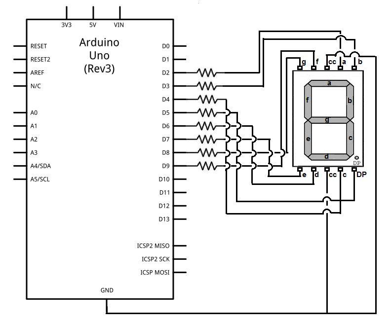 interfacing 7 segment display and arduino
