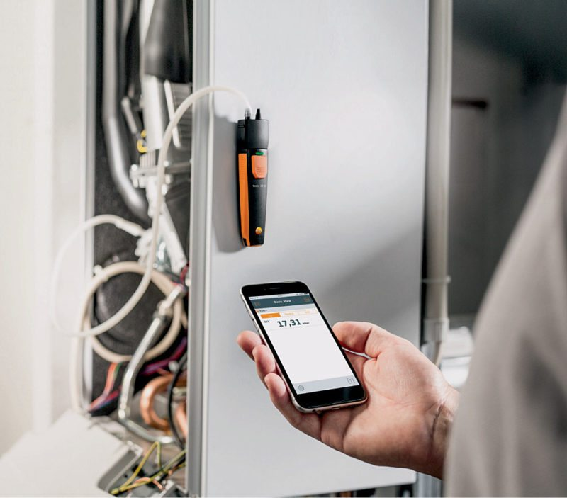 Testo smartprobes allow measurements on a mobile device