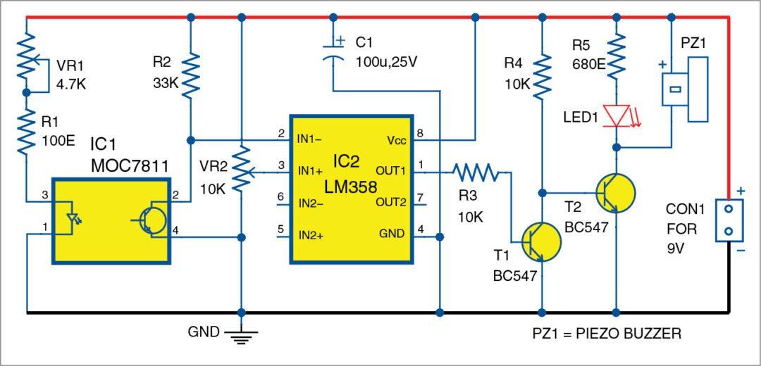 Circuit diagram of the optical smoke alarm