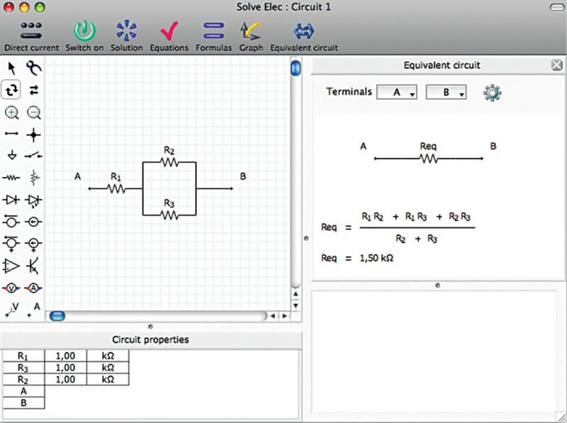Equivalent of the circuit given in Fig. 1 Solve Elec software