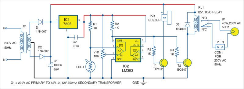 Circuit diagram of the electronic eye security system