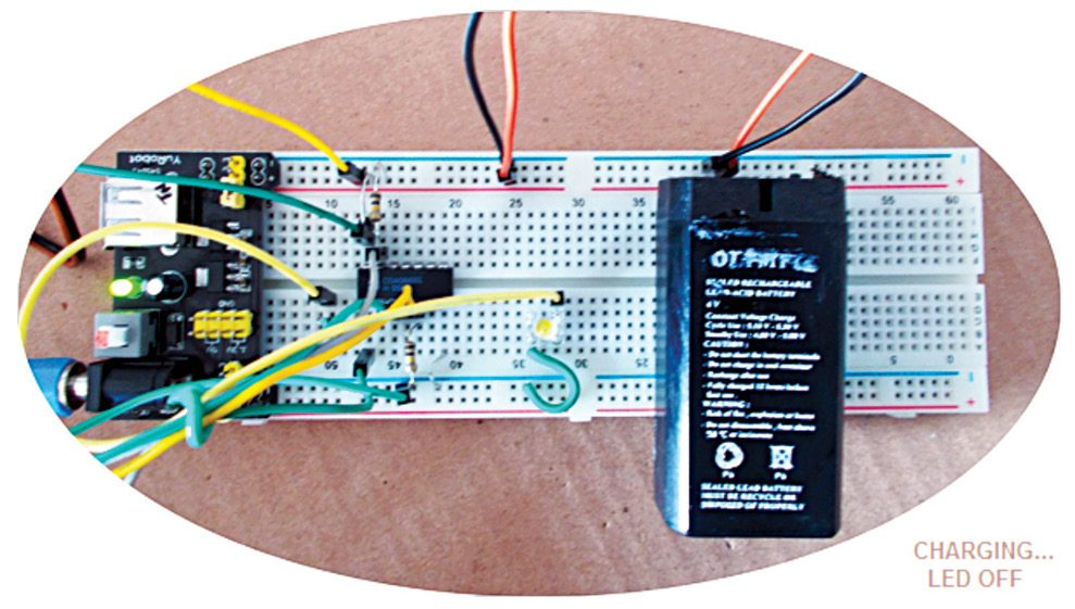 Author's prototype on a breadboard of USB LED night light