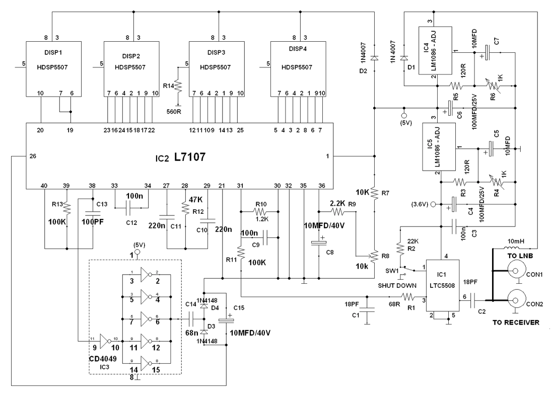Digital Satellite Finder | Full Circuit diagram with ExplanationElectronics For You