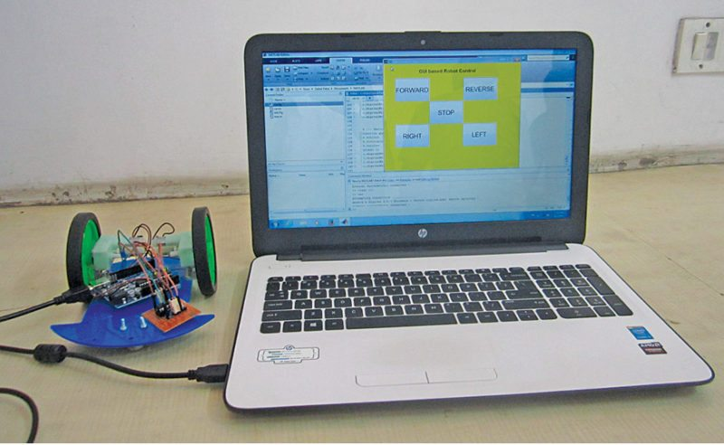 Author's prototype of the MATLAB GUI based robotic car