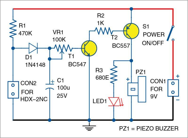 Circuit diagram of the simple suitcase-lift alarm