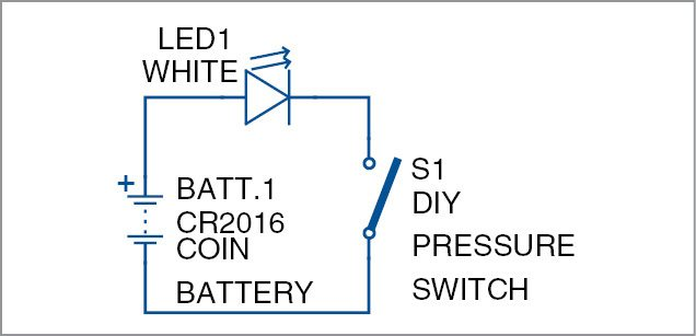 Circuit diagram of the business card flashlight