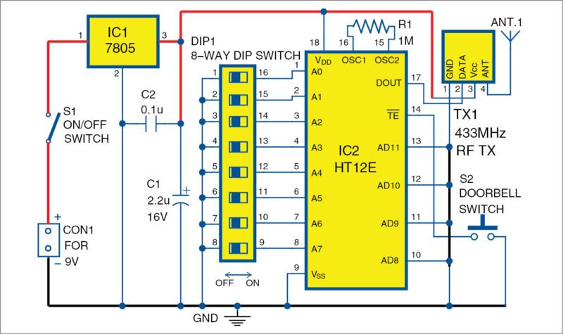 Circuit diagram of transmitter unit for the wireless doorbell
