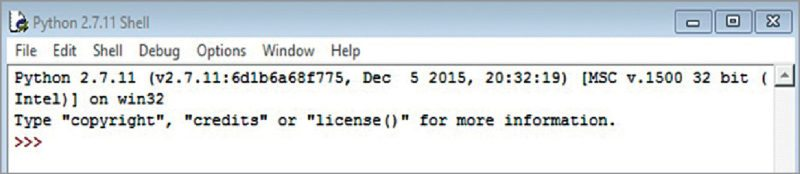 Python IDLE (GUI) screen