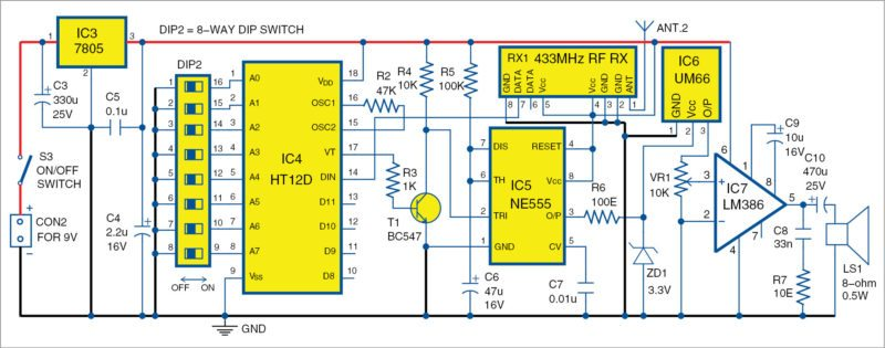 Circuit diagram of receiver unit for the wireless doorbell