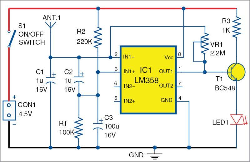Circuit diagram of the mobile phone detector