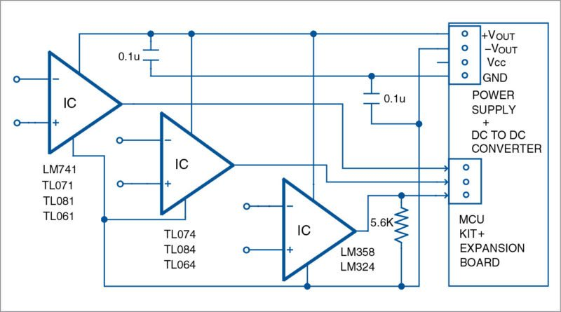 Connection of the DC to DC converter to op-amp