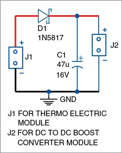 Circuit diagram of mobile charging by heat