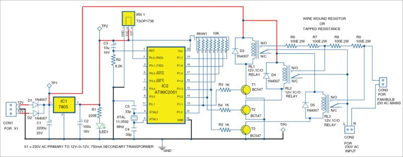 Circuit of the remote-controlled smartfan using AT89C2051