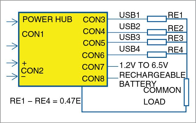 USB outputs in parallel with equalisation resistors