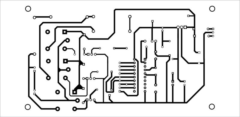 Actual-size PCB pattern of the remote-controlled smartfan using AT89C2051