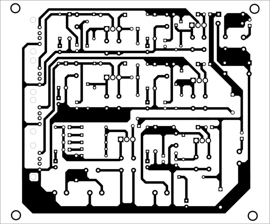 Actual-size PCB layout of the power supply hub with quad-USB outputs