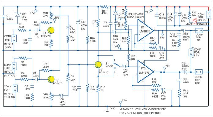 two channel amplifier circuit