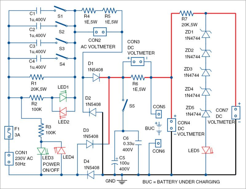Circuit diagram of the simple low-cost and versatile battery charger
