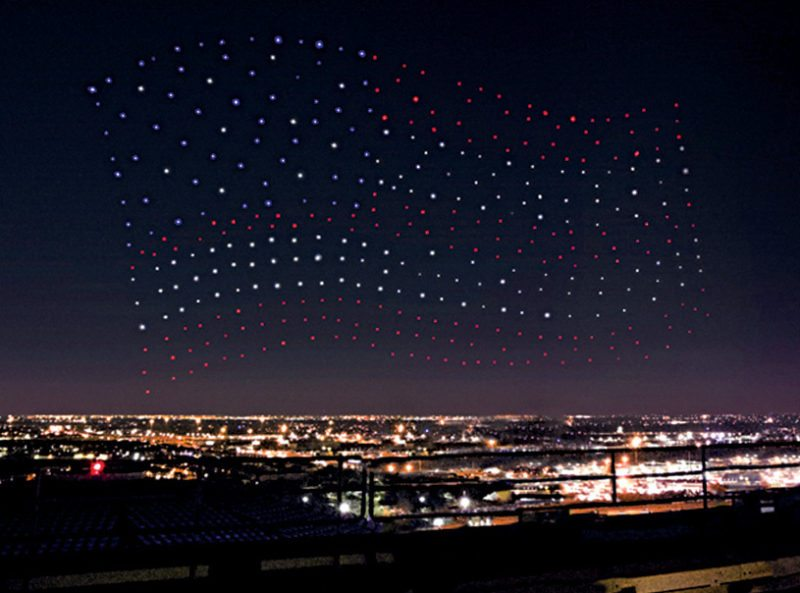 Intel using drone technology to create the American flag (Image courtesy: Intel Corp.)