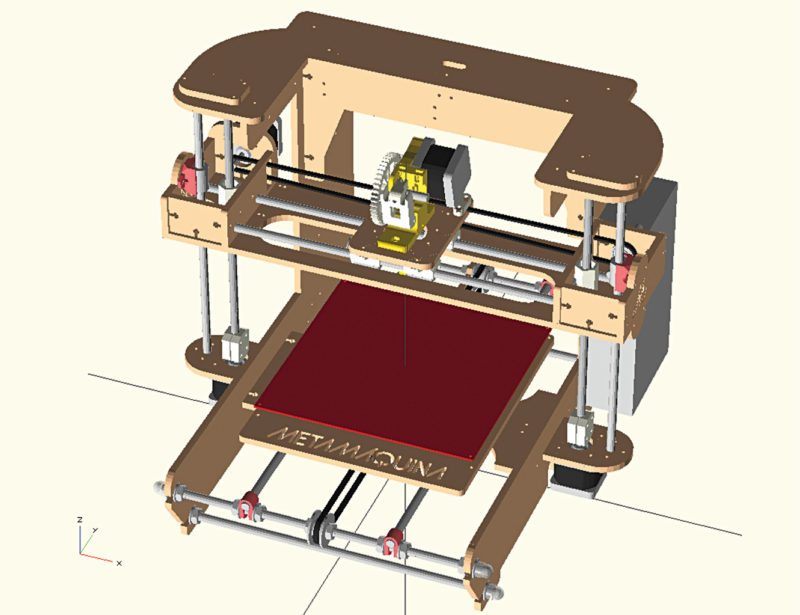 A fully parametric 3D printer designed using OpenSCAD by Sara Rodriguez
