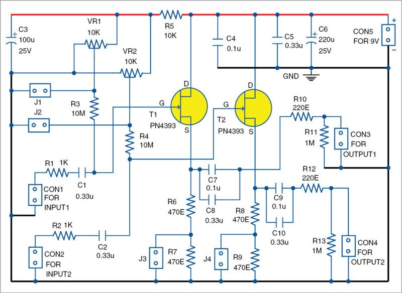 Circuit diagram of dual-channel, active AC analogue probe