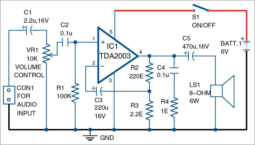 3W/6W Audio Amplifier using TDA2003 | Detailed Circuit ...
