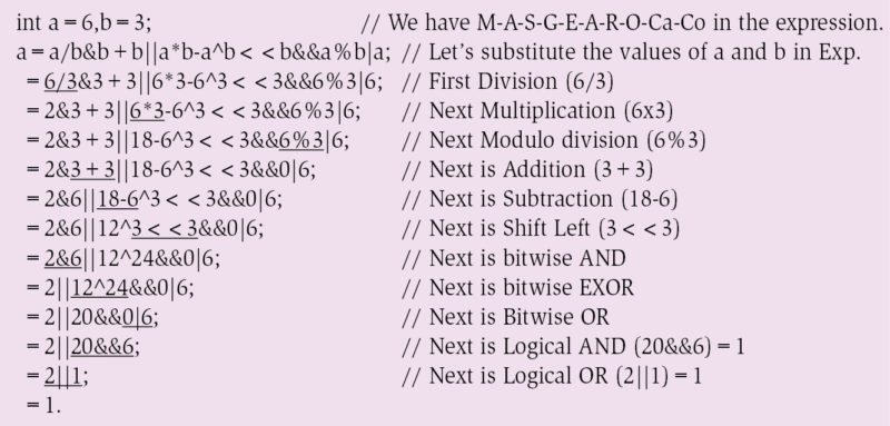 With multiplicative, additive, bit-wise and compound conditional (&& and ||) operators
