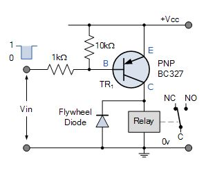 PNP collector relay switch circuit