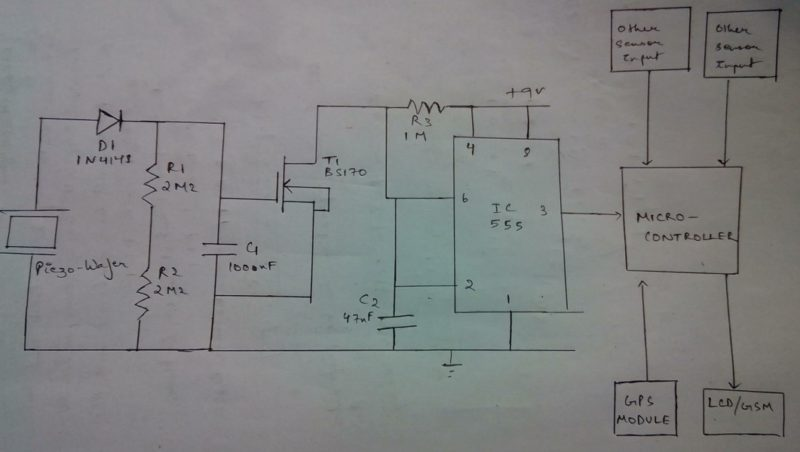circuit of piezo wafers