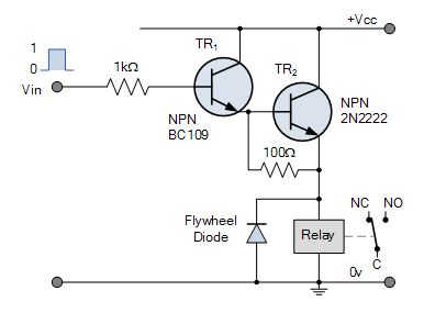 Emitter Darlington relay swith circuit