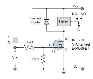 N-Channel MOSFET relay switch circuit