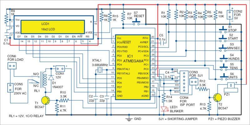 Circuit diagram of countdown timer
