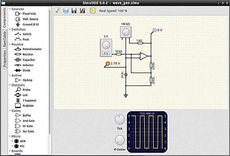 A waveform generator implementation on SimulIDE