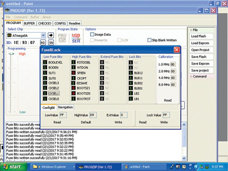 Screenshot of the fuse bits settings; '1' means 'unprogrammed' and '0' means 'programmed'