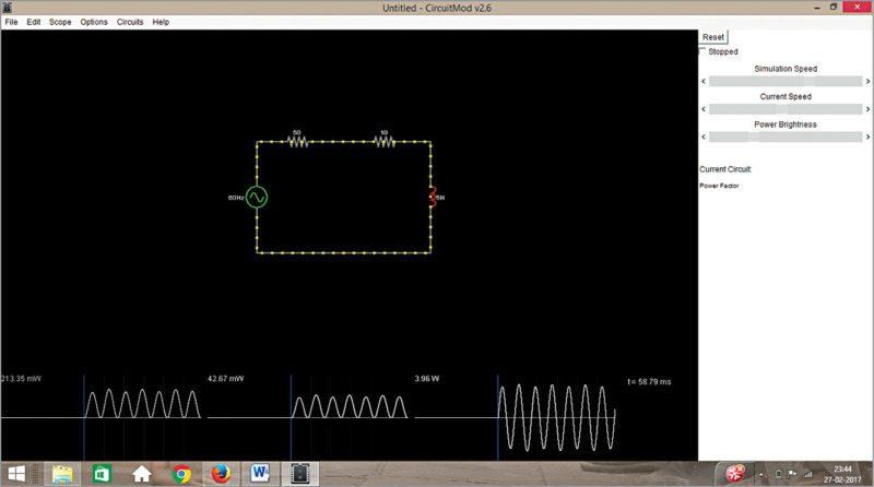 Power factor analysis using CircuitMod
