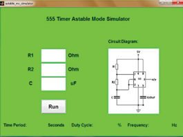 The GUI for the 555 timer astable mode simulator