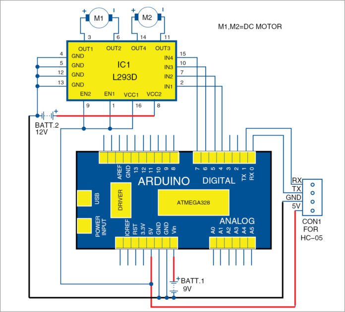 arduino based robot car circuit