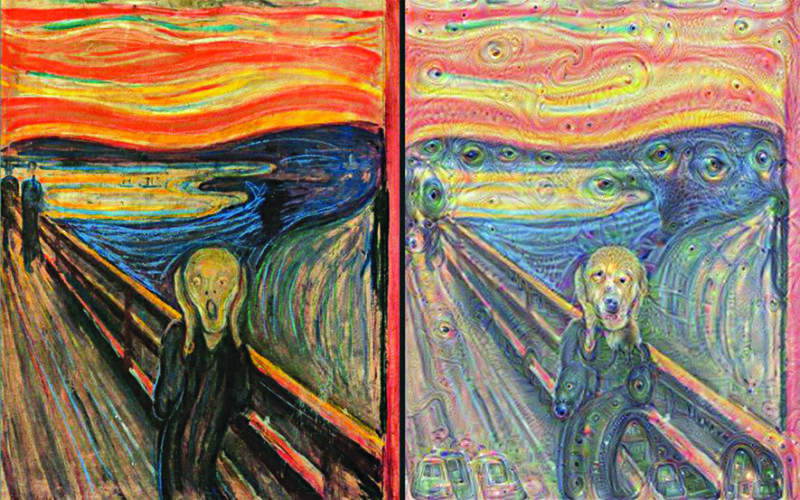 The Scream by Edvard Munch on the left, and the horrifying scream after exaggeration of patterns on the right